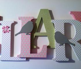 Bird themed letters in pink, green and gray