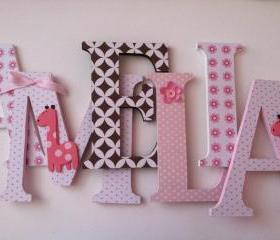 Giraffe themed wooden letters